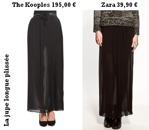 Shopping alternatif : la jupe plissée longue The Kooples versus Zara
