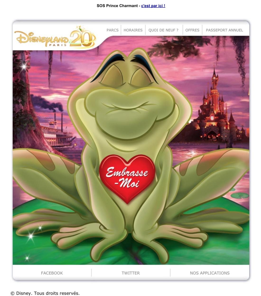 Disneyland Paris e-mailing Saint Valentin crapaud