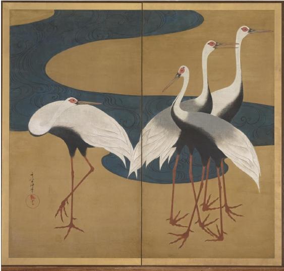 Grues, exposition Le Japon au fil des saisons, musée Cernuschi