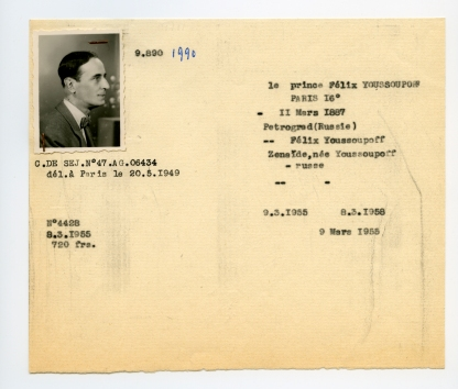 Duplicata du certificat de réfugié de Félix Youssoupoff émis le 9 mars 1955 © Archives Ofpra
