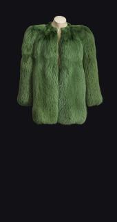 Manteau renard vert YSL Haute couture PE 1971