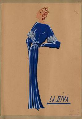 Dessin Maison Lanvin robe Diva