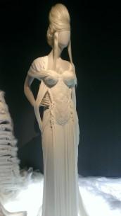 """Jean Paul Gaultier Robe corset 3D en drapés """"Alix"""" de jersey ivoire"""