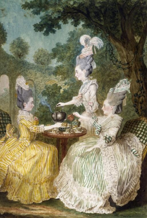 """Carmontelle, """"Mme la Marquise de Montesson, madame la Marquise du Crest et Mme le comtesse de Damas prenant le thé dans un jardin"""", Paris, musée Carnavalet."""