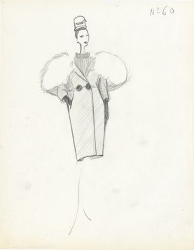 Balenciaga illustration de collection hiver 1957 manteau